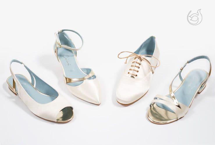 Blanco puro para los zapatos de novia
